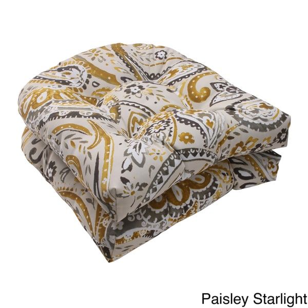 Pillow Perfect Outdoor Paisley Wicker Seat Cushions Set of 2