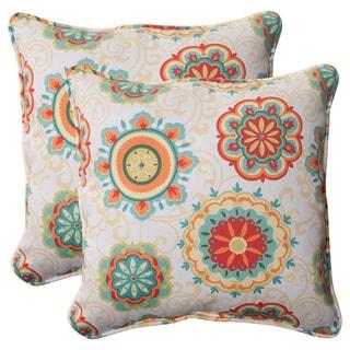 Pillow Perfect Outdoor Fairington Aqua18.5-inch Throw Pillows (Set of 2)