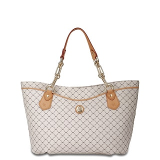 Rioni Vanilla and Natural Signature Printed Traveler's Tote