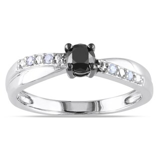 M by Miadora Sterling Silver 1/3ct TDW Black-and-white Round Diamond Ring (H-I, I2-I3)