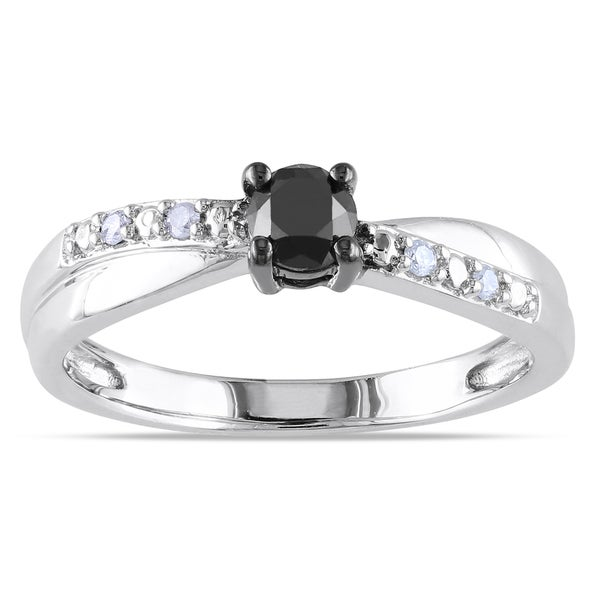 Haylee Jewels Sterling Silver 1/3ct TDW Black-and-white Round Diamond Ring (H-I, I2-I3)