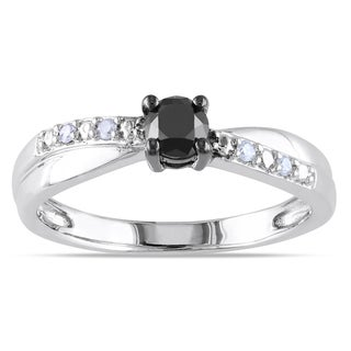 Miadora Sterling Silver 1/3ct TDW Black-and-white Round Diamond Ring (H-I, I2-I3)