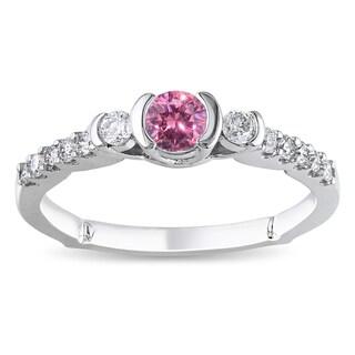 Miadora 14k White Gold 1/2ct TDW Pink and White Diamond Ring (G-H, I1-I2)