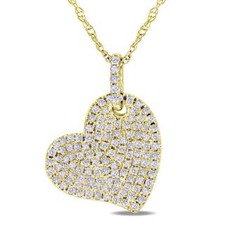 Miadora 10k Yellow Gold 1/2ct TDW Pave Heart Diamond Necklace