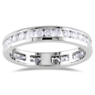 Miadora 14k White Gold 1ct TDW Certified Diamond Channel Eternity Ring (G-H, I1)