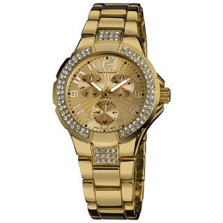 Vernier Ladies Crystal Stone Sport Chrono-Look Stainless-Steel Bracelet Fashion Watch