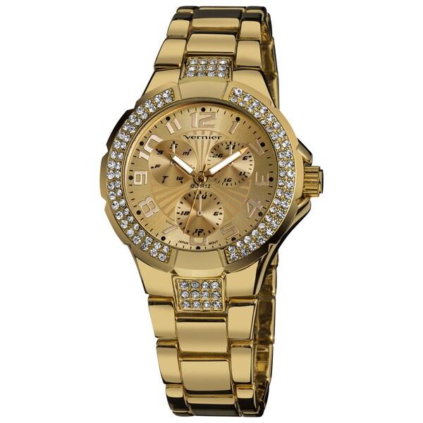 Vernier Ladies Crystal Stone Sport Chrono-Look Stainless-Steel Bracelet Fashion Watch