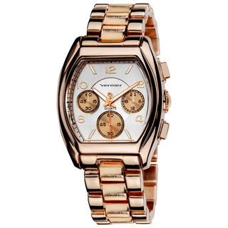 Vernier Ladies Boyfriend-Sized Rose-Tone Tonneau Faux-Chrono Bracelet Watch
