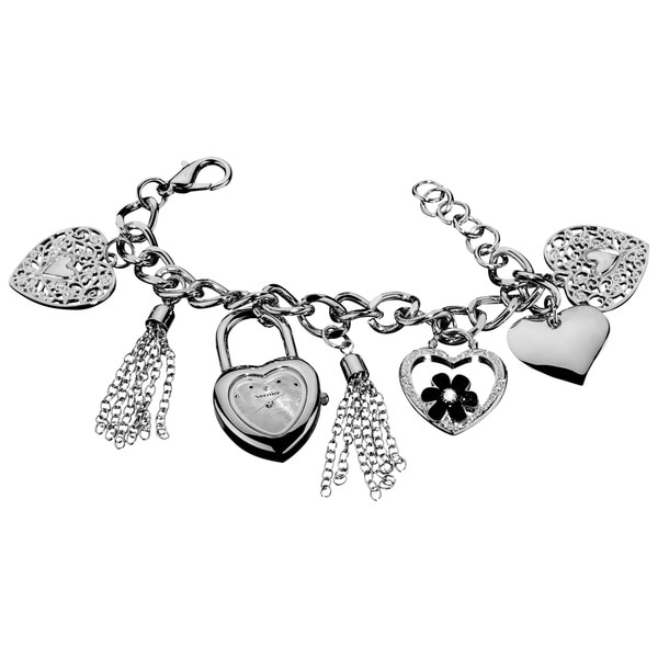 Vernier Ladies Heart Charm Mother of Pearl Dial Bracelet Fashion Watch