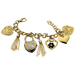 Vernier Goldtone Ladies Heart Charm Mother of Pearl Dial Bracelet Fashion Watch
