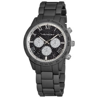 Vernier Ladies Soft Touch Chrono-Look Glitter Pave Dial Bracelet Fashion Watch