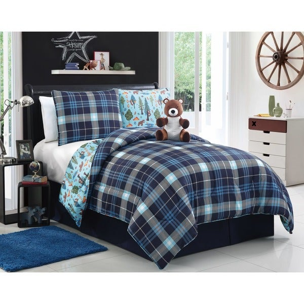 Bear Brady Blue Plaid 3/4-piece Reversible Comforter Set