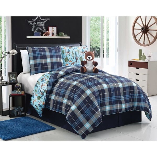 VCNY Bear Brady Blue Plaid 4-piece Reversible Comforter Set