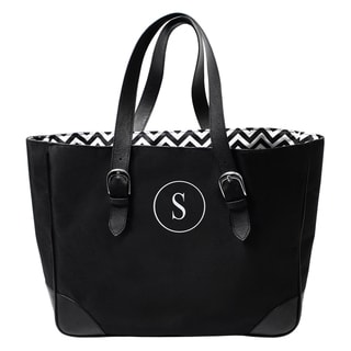 Monogrammed Black/ White Chevron Buckle Tote Bag
