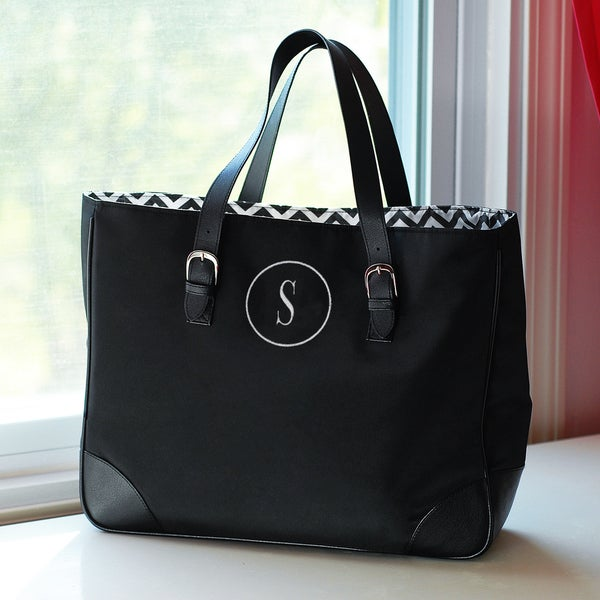 Personalized Black/ White Chevron Buckle Tote Bag