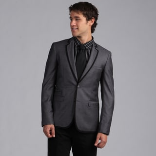 English Laundry Men's Slim Fit Grey/ Black Trim Sportcoat