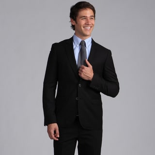 English Laundry Men's Slim Fit Black Plaid 2-button Sportcoat