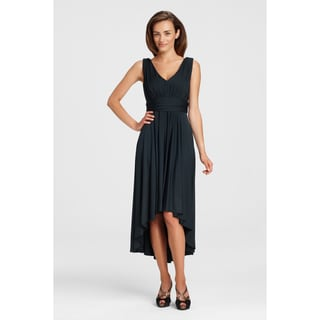 Maggy Boutique Women's Sleeveless V-neck Pleated High-low Dress