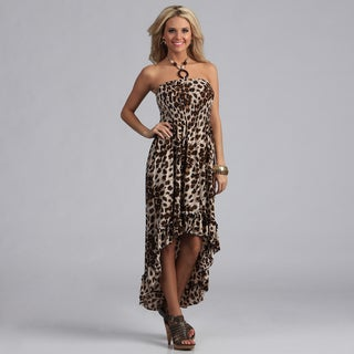 Meetu Magic Women'sAnimal Print High-Low Halter Dress