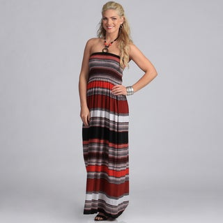 Meetu Magic Women's Beaded Neck Striped Maxi Dress
