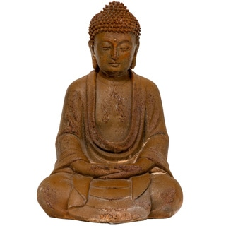 9-Inch Japanese Sitting Zenjo-in Iron Look Buddha Statue (China)