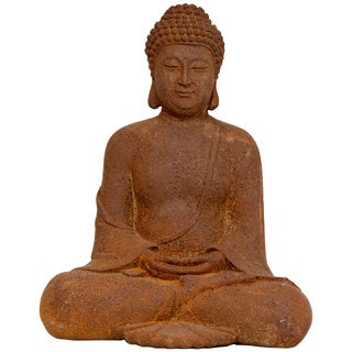 12-Inch Japanese Sitting Zenjo-in Iron Look Buddha Statue (China)