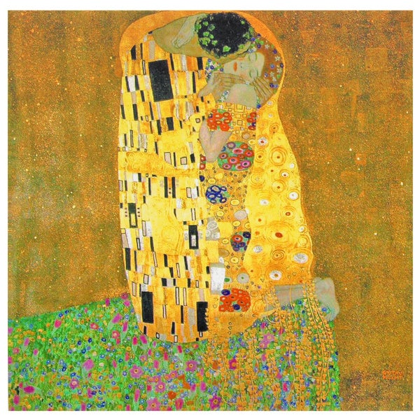 Works of Klimt 'The Kiss' Canvas Wall Art