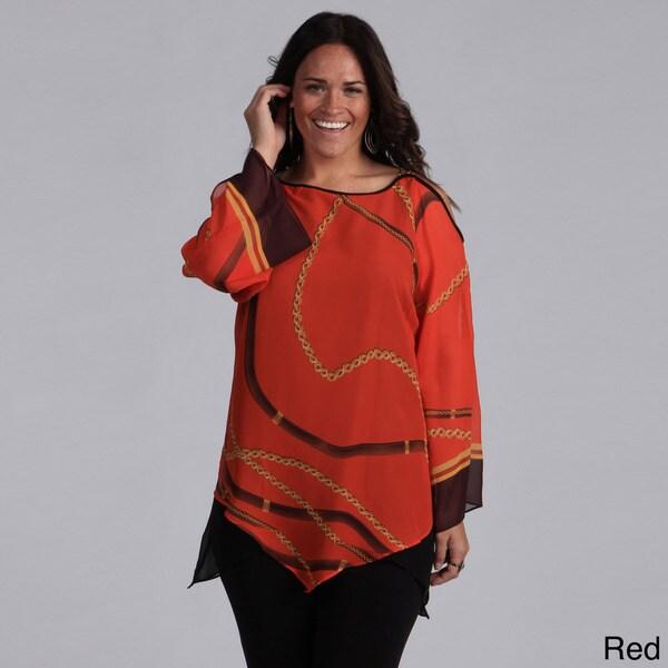 Madison Paige Women's Plus Size Chain Shoulder Printed Tunic