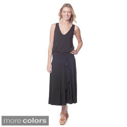 AtoZ Women's Sleeveless Blouson Maxi Dress