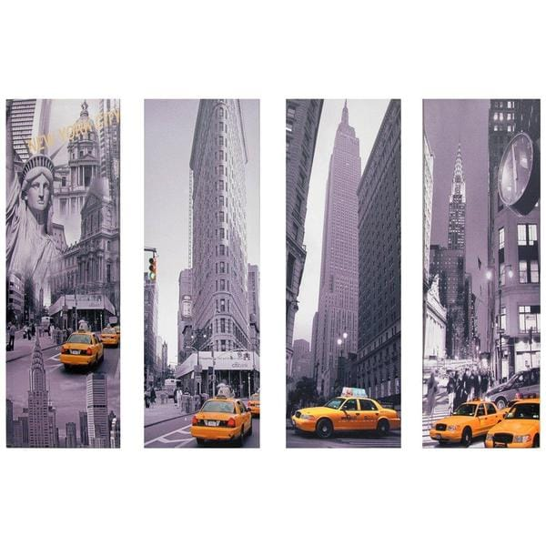 New York Taxi Canvas Wall Art Set Of 4 image