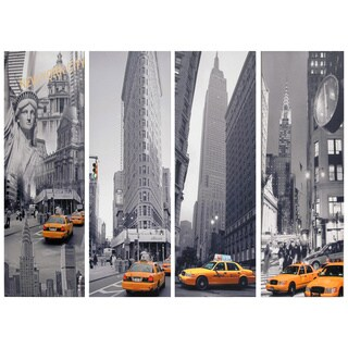 New York Taxi Canvas Wall Art (Set of 4)