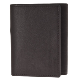 Joseph Abboud Men's Brown Leather Slim Tri-fold Wallet