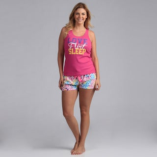 Stanzino Plus Size Fuchsia Tank and Shorts Sleepwear Set