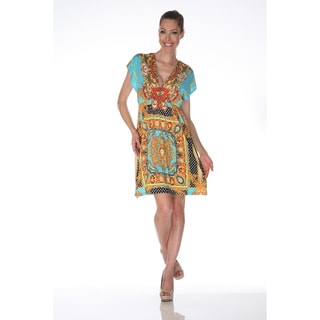 White Mark Women's 'Ibiza' Gold and Turquoise Printed Sleeveless Dress