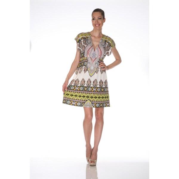 White Mark Women's 'Ibiza' Ivory and Yellow Printed Sleeveless Dress