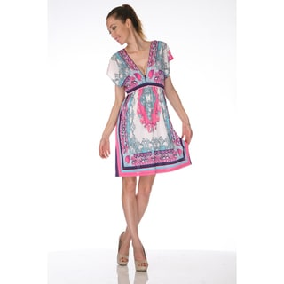 White Mark Women's 'Ibiza' Ivory and Pink Printed Sleeveless Dress