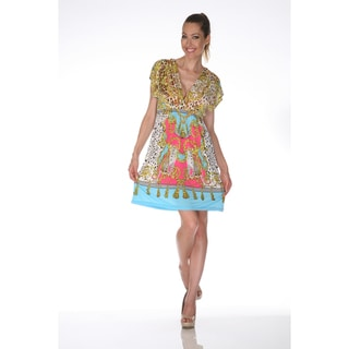 White Mark Women's 'Ibiza' Yellow and Turquoise Printed Sleeveless Dress