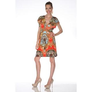 White Mark Women's 'Ibiza' Multi-red Printed Sleeveless Dress