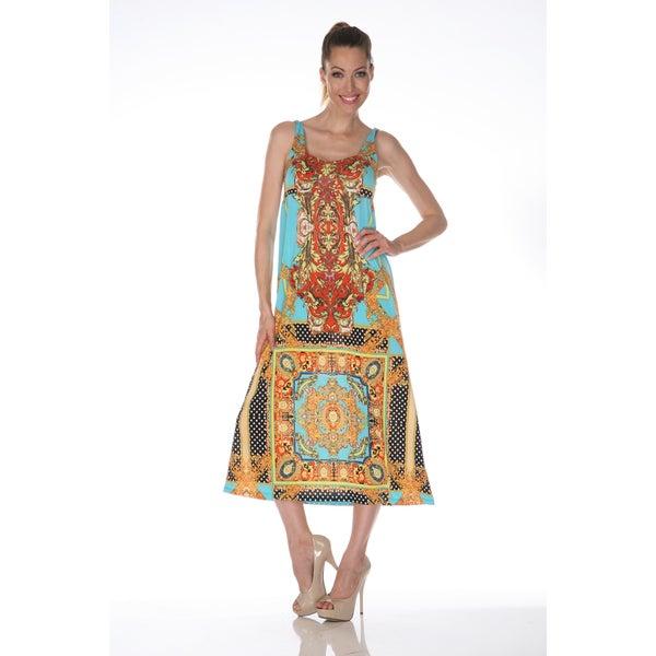 White Mark Women's 'Tuscana' Gold and Turquoise Maxi Dress