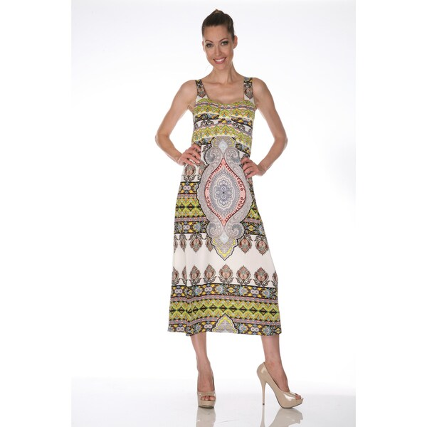 White Mark Women's 'Tuscana' Ivory and Yellow Maxi Dress