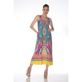 White Mark Women's 'Tuscana' Pink and Turquoise Maxi Dress