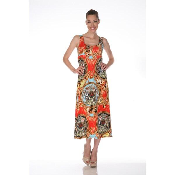 White Mark Women's 'Tuscana' Red Multicolored Maxi Dress