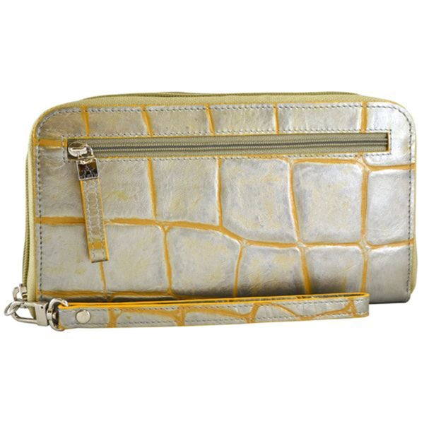 Alicia Klein Silver Croc-embossed Leather Wristlet Wallet