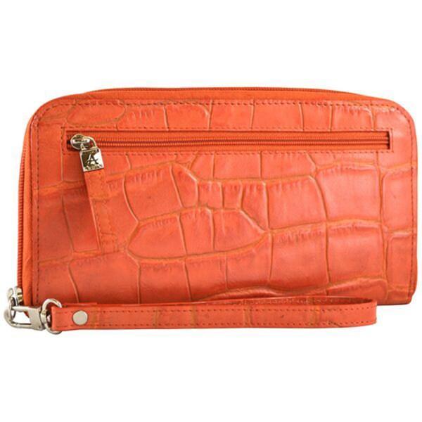 Alicia Klein Cayenne Leather Croc-embossed Wristlet Wallet