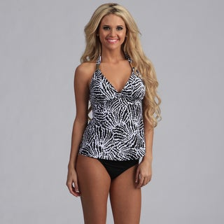 Jantzen Black Printed Draped Halter Tankini Set