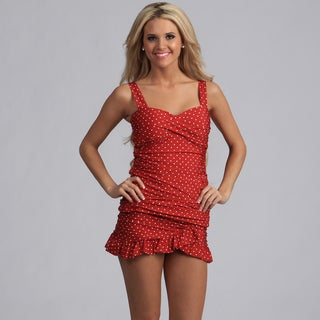 Jantzen Red Polka-dot Tankini with Ruffle Skirted Bottom