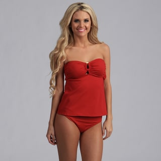 Jantzen Red Bandeau Tankini with Hipster Bottoms