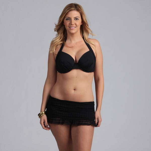 Jantzen Plus Size Underwire Halter Bikini with Skirted Bottom
