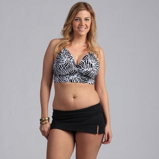 Jantzen Plus Size H-back Halter Bikini with Skired Bottom