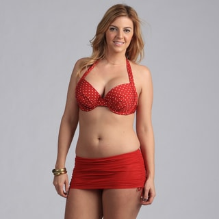 Jantzen Red Polka-dot Bikini with Skirted Bottom